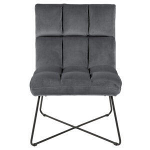 ACT NORDIC Alba loungestol - mørkegrå polyester og sort metal