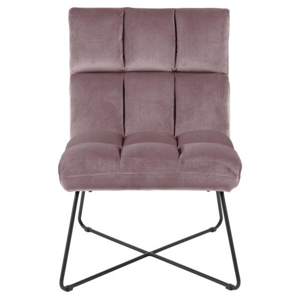 ACT NORDIC Alba loungestol - støvet rosa polyester og sort metal