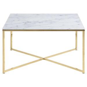 ACT NORDIC Alisma sofabord bordplade - glas m. hvid marmor print og guld metal (80x80)