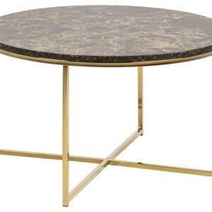ACT NORDIC Alisma sofabord - brun/guld marmorpapir/metal, rund (Ø80)