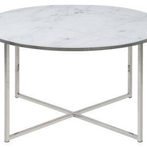 ACT NORDIC Alisma sofabord - glasplade, m. marmor print, rundt (Ø:80)
