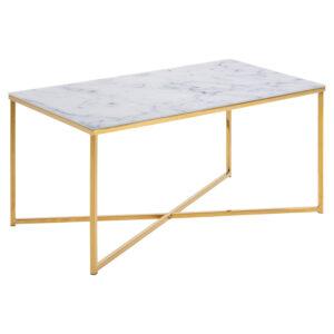 ACT NORDIC Alisma sofabord - krystalklart frostet glas m. hvid marmorprint og guld krom (90x50)