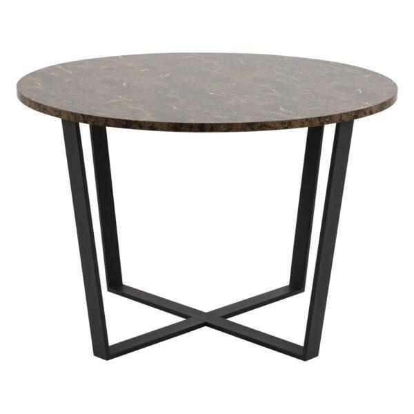 ACT NORDIC Amble rund spisebord - brun melamin og sort metal (Ø110)