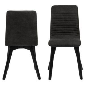 ACT NORDIC Arosa spisebordsstol - antracitgrå polyester og sort egetræ