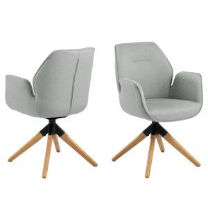 ACT NORDIC Aura spisebordsstol, m. armlæn og drejefunktion - lysegrå polyester og natur gummitræ