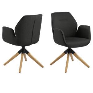 ACT NORDIC Aura spisebordsstol, m. armlæn og drejefunktion - mørkegrå polyester og natur gummitræ