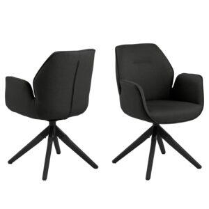 ACT NORDIC Aura spisebordsstol, m. armlæn og drejefunktion - mørkegrå polyester og sort gummitræ