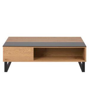 ACT NORDIC Azalea sofabord m. opbevaring - natur papir vild eg, sort glas og sort metal (110x60)