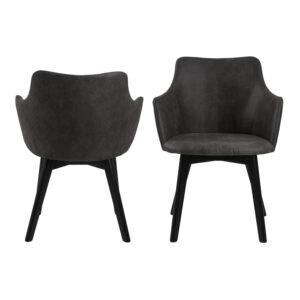 ACT NORDIC Bella spisebordsstol, m. armlæn - antracitgrå polyester og sort eg