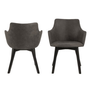 ACT NORDIC Bella spisebordsstol m. armlæn - antracitgrå stof og sort egetræ