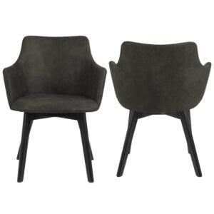 ACT NORDIC Bella spisebordsstol, m. armlæn - olivengrøn polyester og sort eg