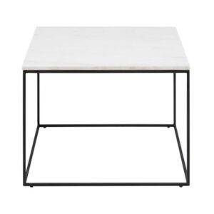 ACT NORDIC Bolton sofabord, kvadratisk - hvid Guangxi marmor og sort metal (60x60)
