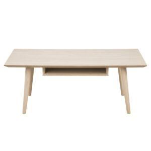 ACT NORDIC Century sofabord, m. hylde - hvidpigmenteret egetræsfiner og eg (115x60)
