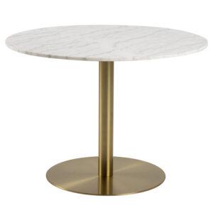 ACT NORDIC Corby rund spisebord - hvid marmor og messing metal (Ø105)