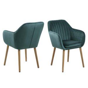 ACT NORDIC Emilia lænestol, m. armlæn - grøn polyester og natur eg