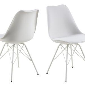 ACT NORDIC Eris spisebordsstol - hvid plastik/kunstlæder/metal