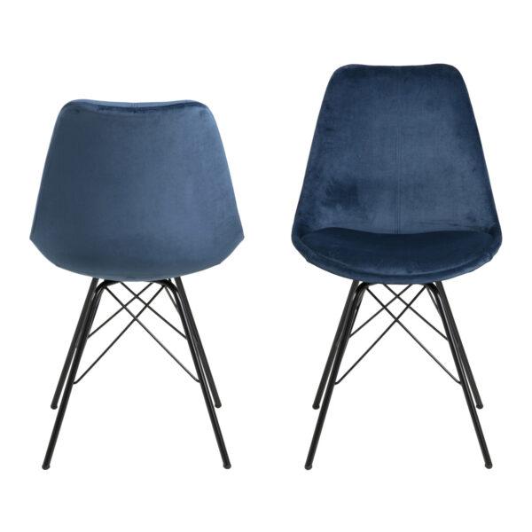 ACT NORDIC Eris spisebordsstol - marineblå stof og sort metal