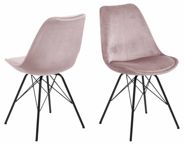 ACT NORDIC Eris spisebordsstol - støvet rosa/sort stof/metal