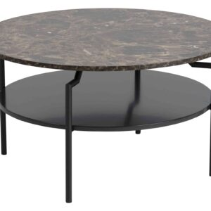 ACT NORDIC Goldington sofabord - brun/sort marmorpapir/MDF, rund (Ø80)