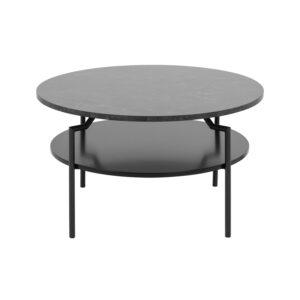 ACT NORDIC Goldington sofabord m. 1 hylde i sort MDF - sort melamin m. marmorprint og metal (Ø80)