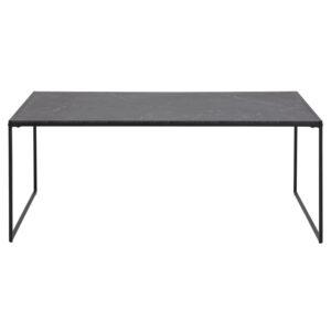 ACT NORDIC Infinity rektangulær sofabord - sort melamin m. marmorprint og sort metal (120x60)