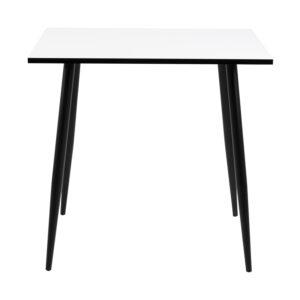 ACT NORDIC Kvadratisk Wilma spisebord - hvid melamin og sort metal (80x80)