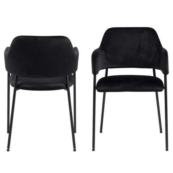 ACT NORDIC Lima spisebordsstol, m. armlæn - sort polyester og metal