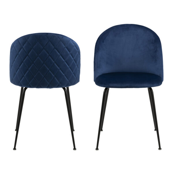 ACT NORDIC Louise spisebordsstol - mørkeblå/sort stof/metal