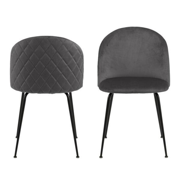 ACT NORDIC Louise spisebordsstol - mørkegrå/sort stof/metal