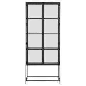 ACT NORDIC Seaford vitrineskab, m. 2 låger og 4 hylder - glas, sort melamin ask og sort metal