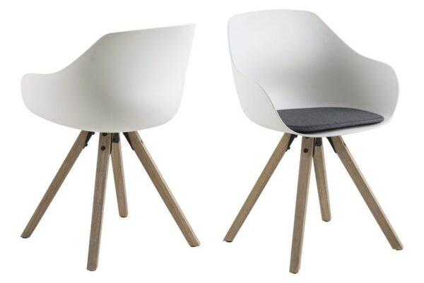ACT NORDIC Tina spisebordsstol m. hynde - hvid/natur, plastik/gummitræ