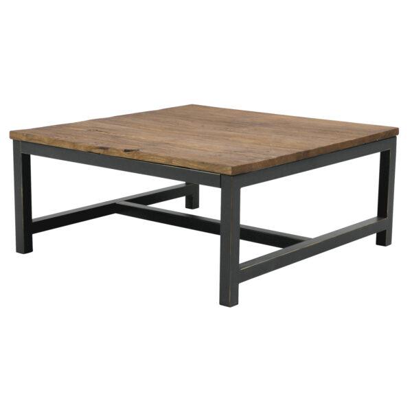 ACT NORDIC Vintage sofabord - genbrugs elm og antik metal (90x90)