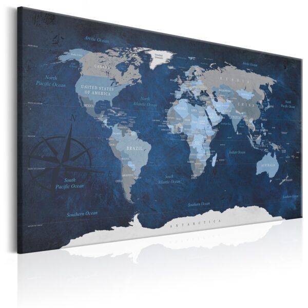 ARTGEIST Dark Blue World - Blå verdenskort med kompas trykt på lærred - Flere størrelser 90x60