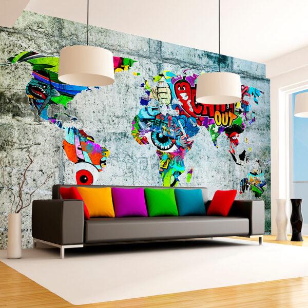 ARTGEIST Fototapet - Map - Graffiti, verdenskort lavet af grafitti (flere størrelser) 300x210