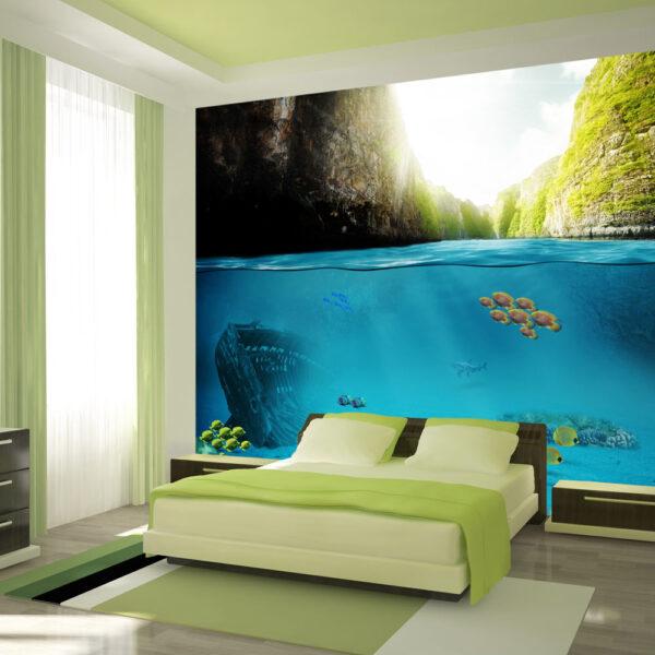 ARTGEIST - Fototapet med udsigt både under vandet og over vandet - Flere størrelser 350x245