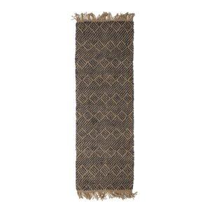 BLOOMINGVILLE Aby gulvtæppe, rektangulært - sort/natur vævet jute (200x70)