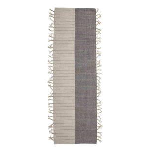 BLOOMINGVILLE Aciano gulvtæppe, rektangulært - natur/grå vævvet bomuld m. gule detaljer (250x80)