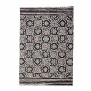 BLOOMINGVILLE Aco gulvtæppe, rektangulært - sort/hvidt mønstret vævet bomuld (180x120)