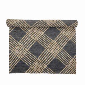 BLOOMINGVILLE Cat gulvtæppe, rektangulær - sort/natur jute (245x150)