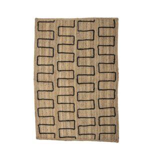 BLOOMINGVILLE Dell gulvtæppe, rektangulært - flettet natur jute m. sorte detaljer (180x120)