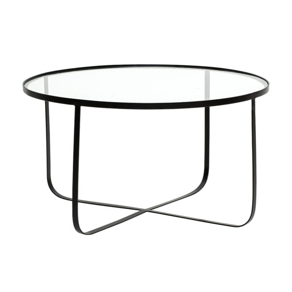 BLOOMINGVILLE Harper sofabord - klar glas/sort jern, rund (Ø80)
