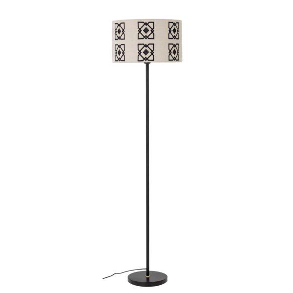 BLOOMINGVILLE Selita gulvlampe - natur linned og sort metal (Ø42)