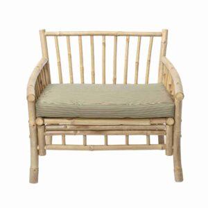 BLOOMINGVILLE Sole loungestol - natur polyester/bambustræ, m. armlæn, inkl. hynde