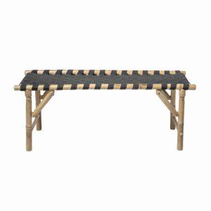 BLOOMINGVILLE Vida bænk - natur bambus og sort stof, rektangulær, foldbar (115x40)