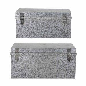 BLOOMINGVILLE opbevaringskasse - sølv metal (sæt à 2)