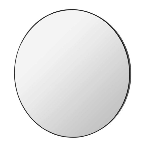 BROSTE COPENHAGEN Complete vægspejl - klar/sort spejlglas/træ, rund (Ø110)