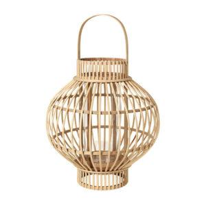 BROSTE COPENHAGEN Globus lanterne, rund - glas og natur bambus (Ø36)