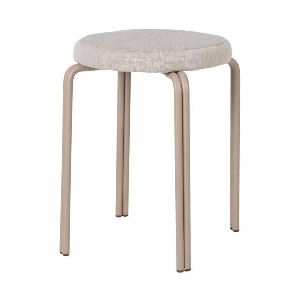 BROSTE COPENHAGEN Oda taburet - grå stof og jern (Ø36)