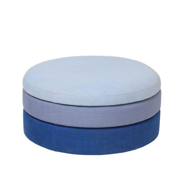 BROSTE COPENHAGEN Pond puf - blå polyester (Ø68)