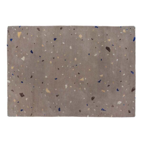 BROSTE COPENHAGEN Terrazzo gulvtæppe, rektangulær brun og multifarvet uld (140x200)